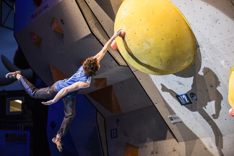 Guillaume Glairon Mondet competes during the IFSC Climbing World Cup in Innsbruck, Austria on May 17th, 2014